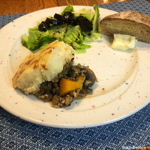 Shows vegetable cottage pie made from Irish recipe